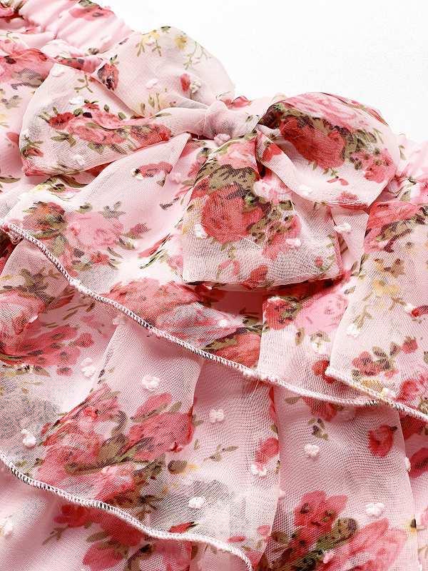 子供用花柄シフォン4段フリルスカート サイズF(110-120cm相当) カラー:ピンク1 裏地付き ウエストゴム調節可 キッズ 女の子 ガールズ_画像5