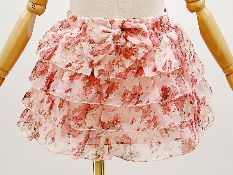 子供用花柄シフォン4段フリルスカート サイズF(110-120cm相当) カラー:ピンク1 裏地付き ウエストゴム調節可 キッズ 女の子 ガールズ_画像4