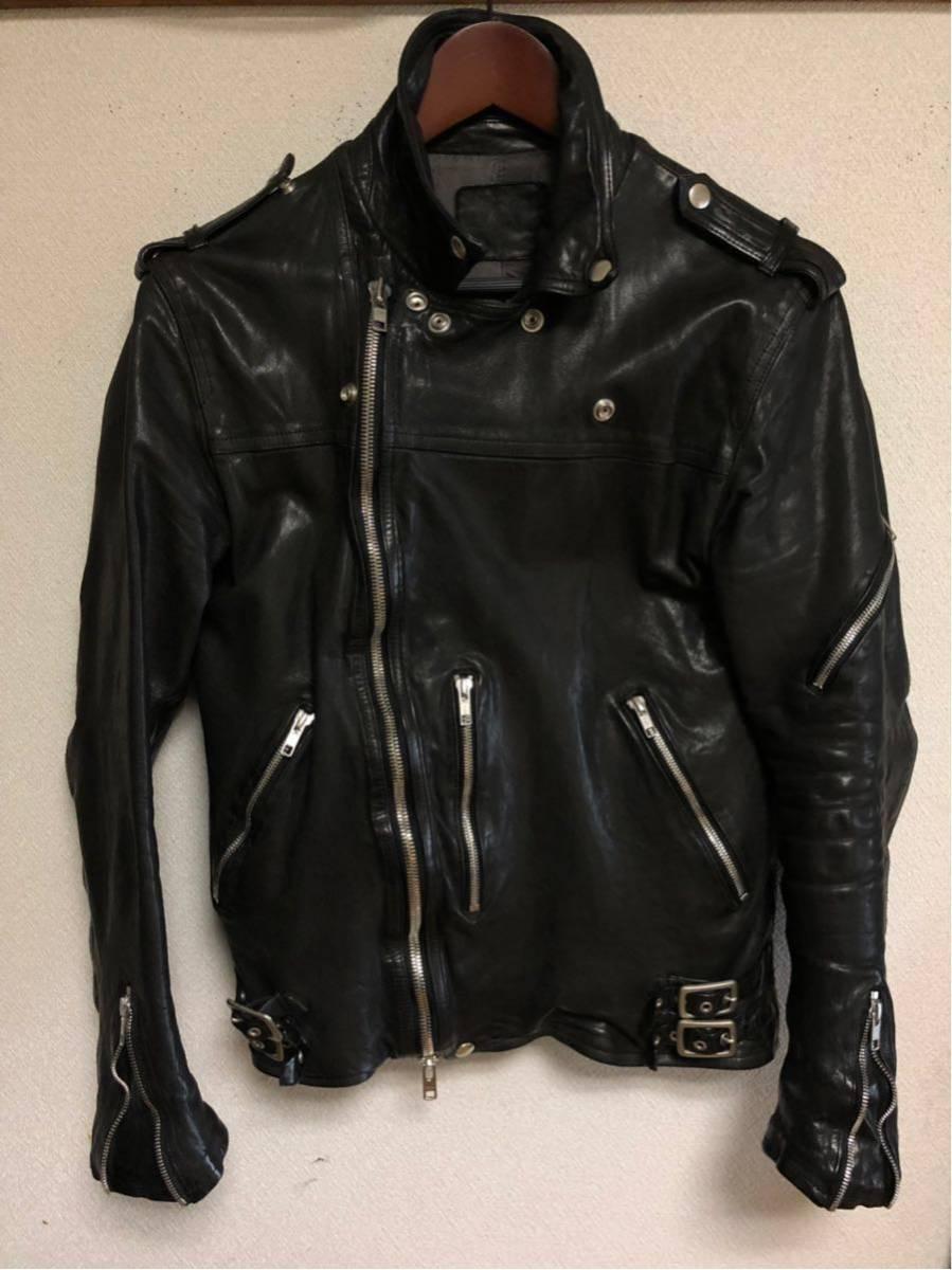 サンプル品 イサムカタヤマ BACKLASH(バックラッシュ)製品染めWライダースジャケット サイズM ISAMU KATAYAMA_画像2