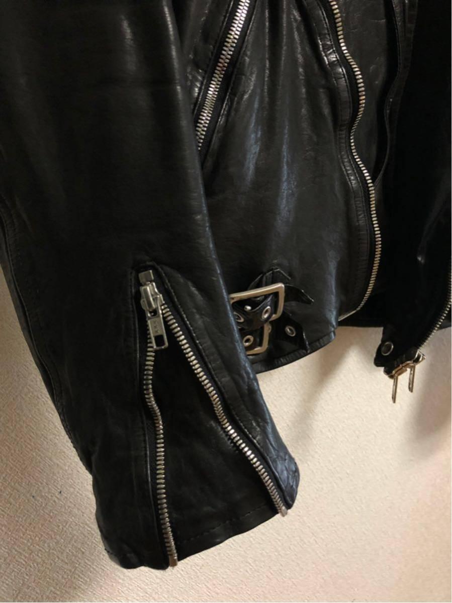 サンプル品 イサムカタヤマ BACKLASH(バックラッシュ)製品染めWライダースジャケット サイズM ISAMU KATAYAMA_画像4