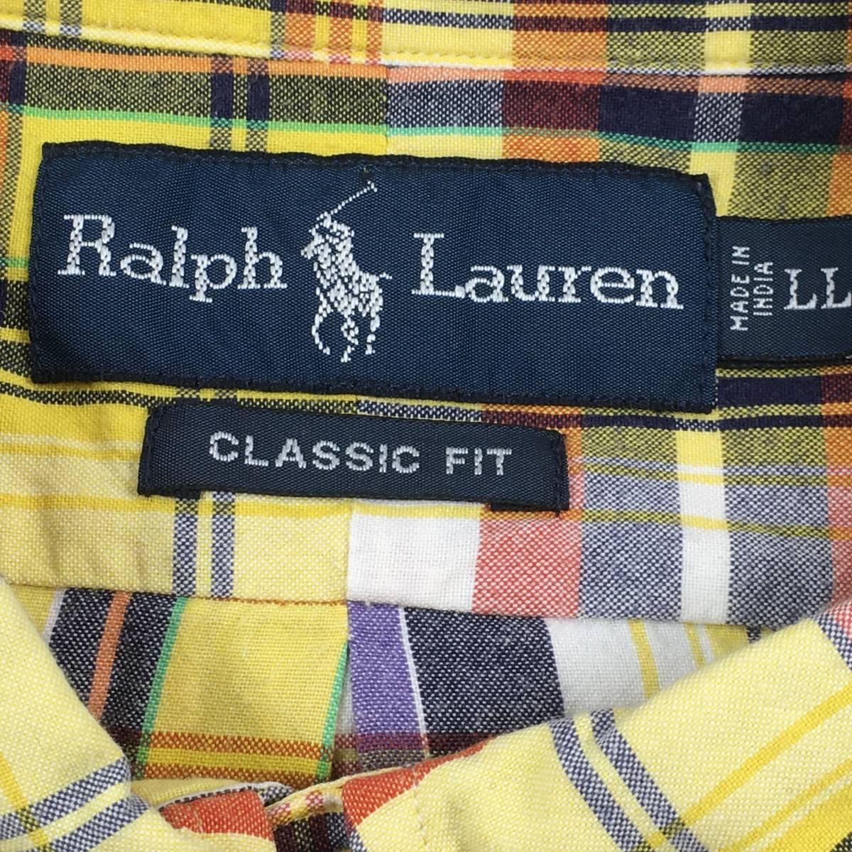 美品【Ralph Lauren ラルフローレン】拘りのインド綿 マドラスチェック「CLASSIC FIT」半袖シャツ LL 大きめ メンズ ゆったり_画像2