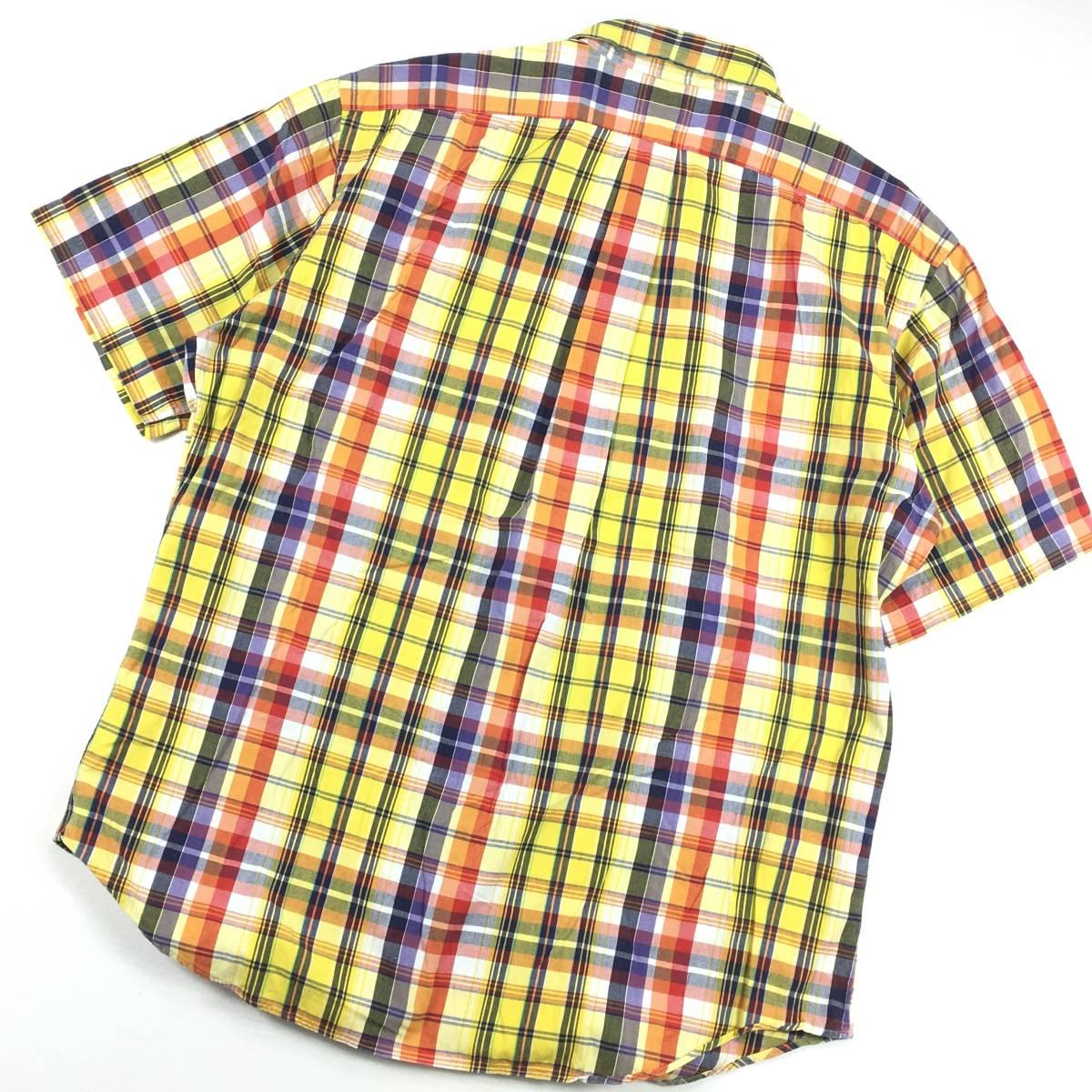 美品【Ralph Lauren ラルフローレン】拘りのインド綿 マドラスチェック「CLASSIC FIT」半袖シャツ LL 大きめ メンズ ゆったり_画像4