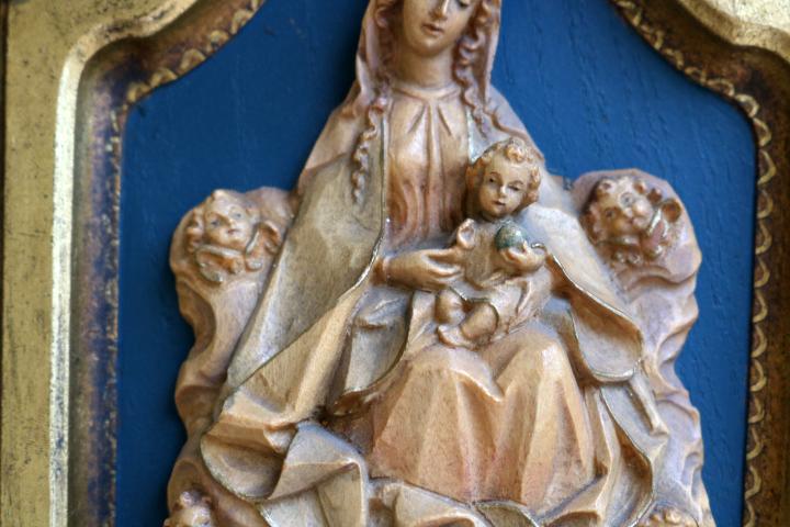 ■ ANRI/アンリ工房、木彫り聖母子の壁掛け/Sale ■_画像5