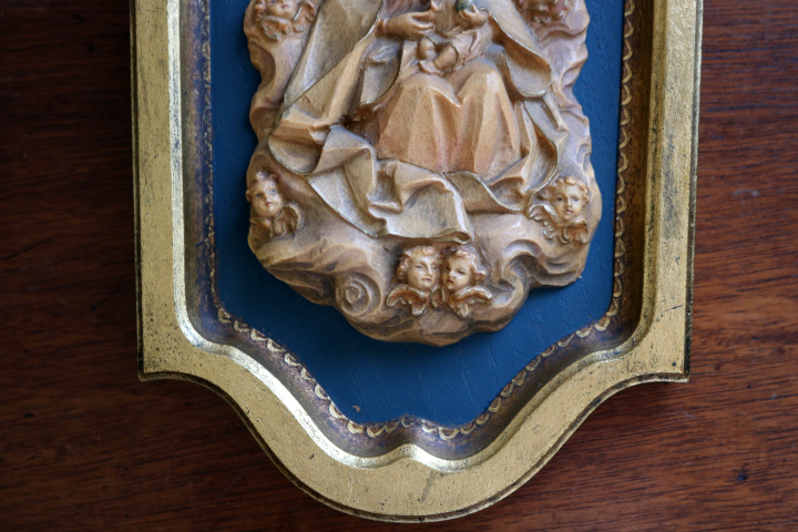 ■ ANRI/アンリ工房、木彫り聖母子の壁掛け/Sale ■_画像3