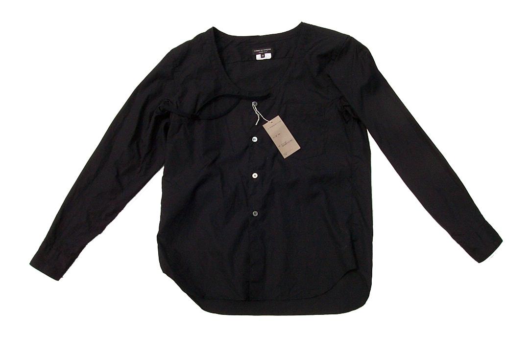 美品正規品 COMME des GARCONS HOMME PLUS コムデギャルソンオムプリュス 17SS レイヤード シャネルシャツ ノーカラー黒ブラックXS_画像1