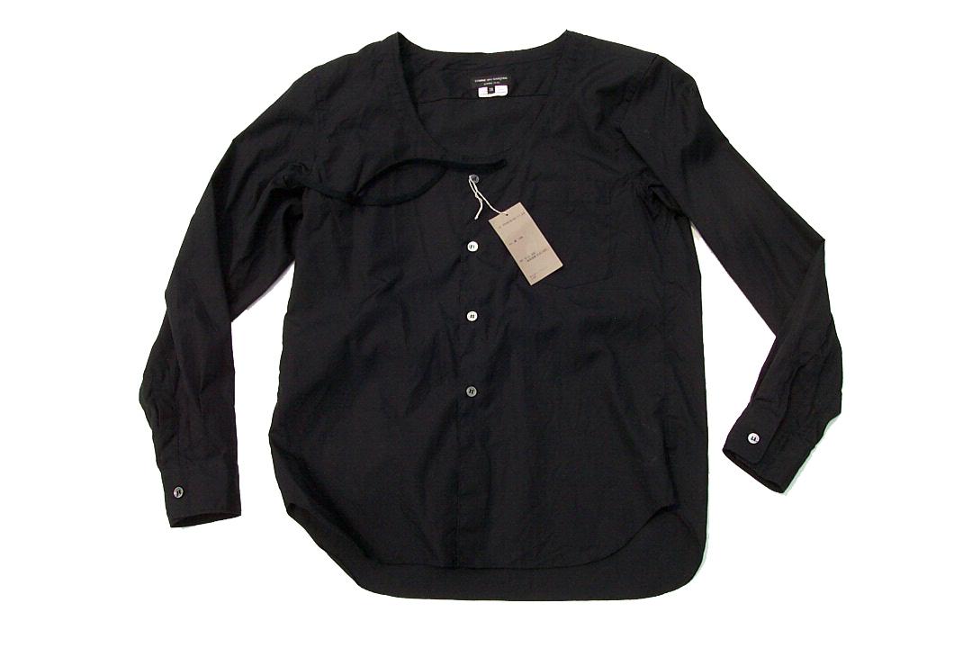 美品正規品 COMME des GARCONS HOMME PLUS コムデギャルソンオムプリュス 17SS レイヤード シャネルシャツ ノーカラー黒ブラックXS_画像2