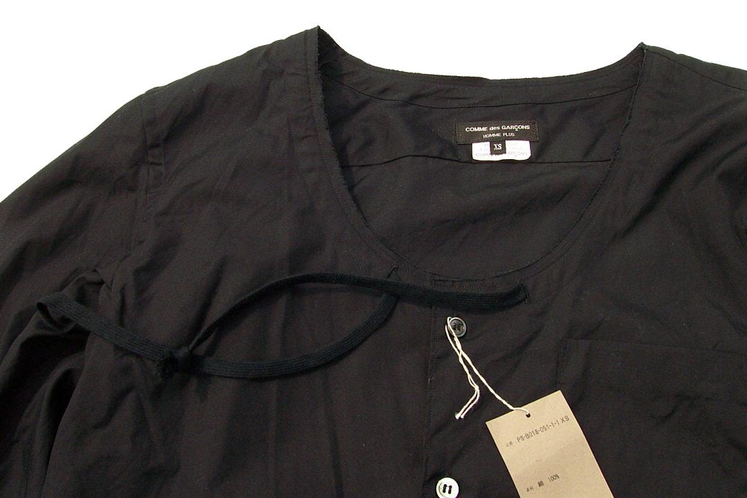 美品正規品 COMME des GARCONS HOMME PLUS コムデギャルソンオムプリュス 17SS レイヤード シャネルシャツ ノーカラー黒ブラックXS_画像3