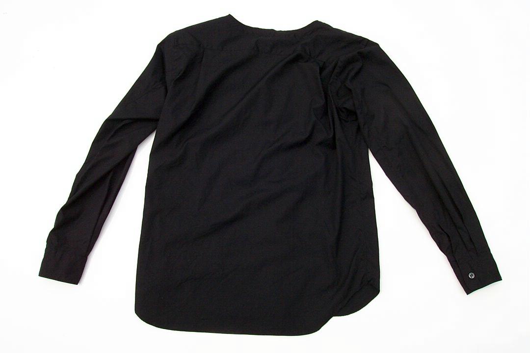 美品正規品 COMME des GARCONS HOMME PLUS コムデギャルソンオムプリュス 17SS レイヤード シャネルシャツ ノーカラー黒ブラックXS_画像6