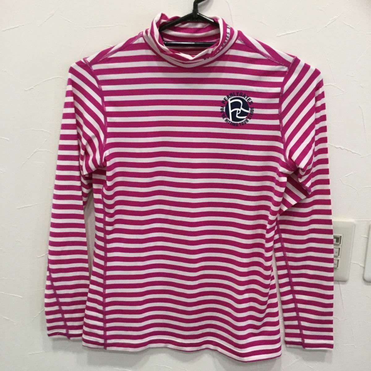 PEARLY GATES パーリーゲイツ ハイネックインナーシャツ サイズ2 *白×ピンク* ロゴ インナーシャツ レディース ゴルフウェア 長袖
