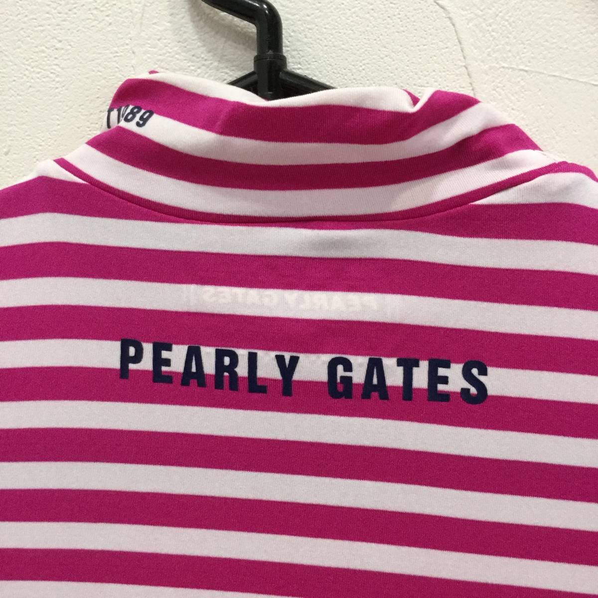 PEARLY GATES パーリーゲイツ ハイネックインナーシャツ サイズ2 *白×ピンク* ロゴ インナーシャツ レディース ゴルフウェア 長袖_画像4