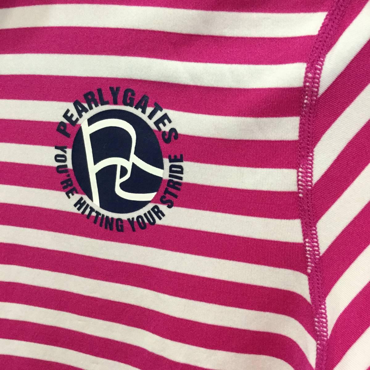 PEARLY GATES パーリーゲイツ ハイネックインナーシャツ サイズ2 *白×ピンク* ロゴ インナーシャツ レディース ゴルフウェア 長袖_画像5
