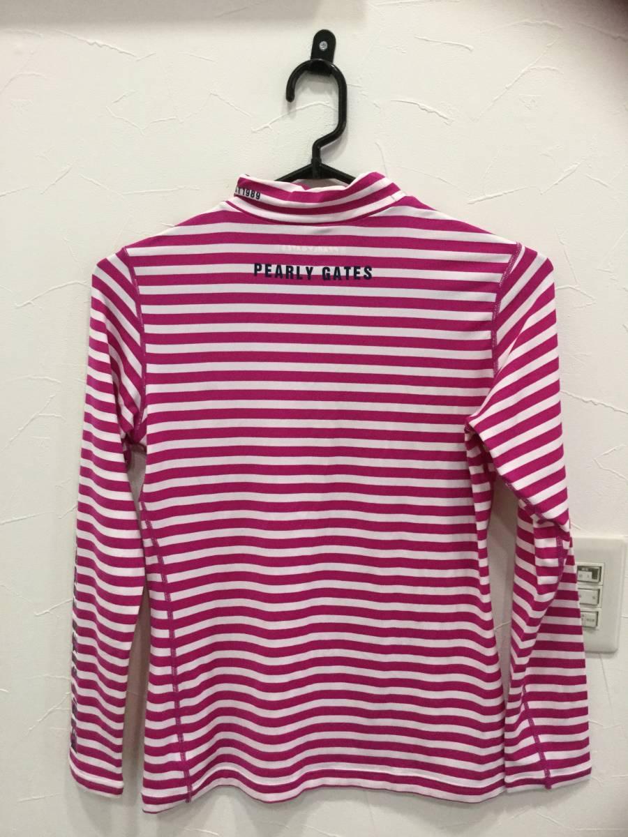 PEARLY GATES パーリーゲイツ ハイネックインナーシャツ サイズ2 *白×ピンク* ロゴ インナーシャツ レディース ゴルフウェア 長袖_画像2