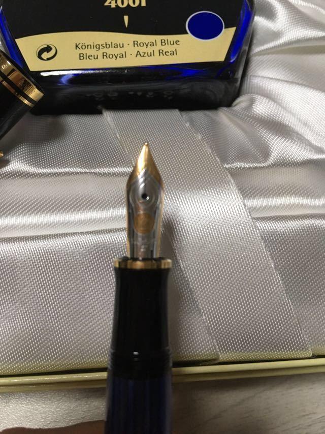 【新品未使用】ペリカン スーベレーン M400 細字 F 青縞 インク付き 万年筆_画像3
