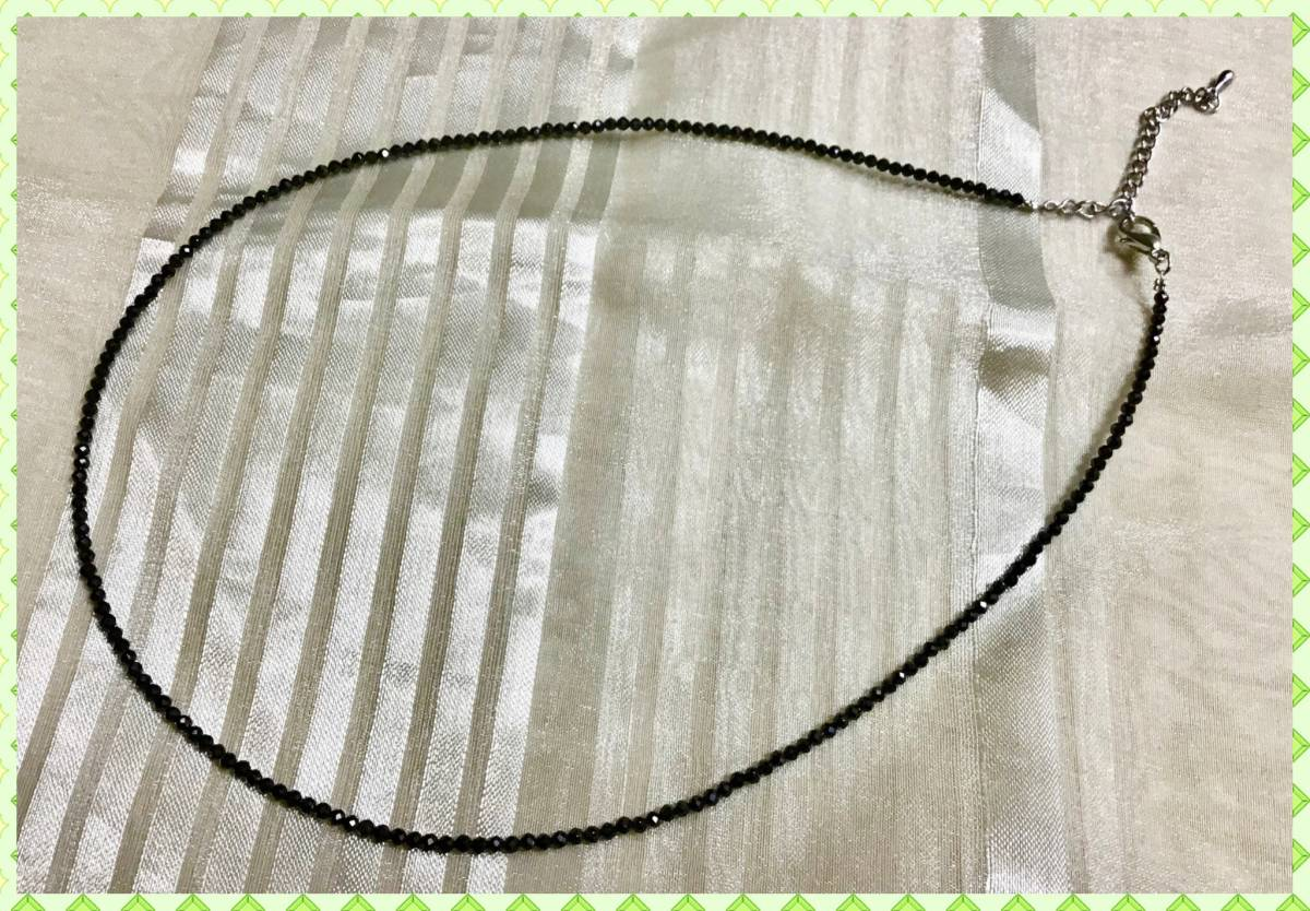 ☆★新品☆☆お買い得!☆★天然石☆ブラックスピネルネックレス☆幅2ミリ長さ40センチ☆送料無料★