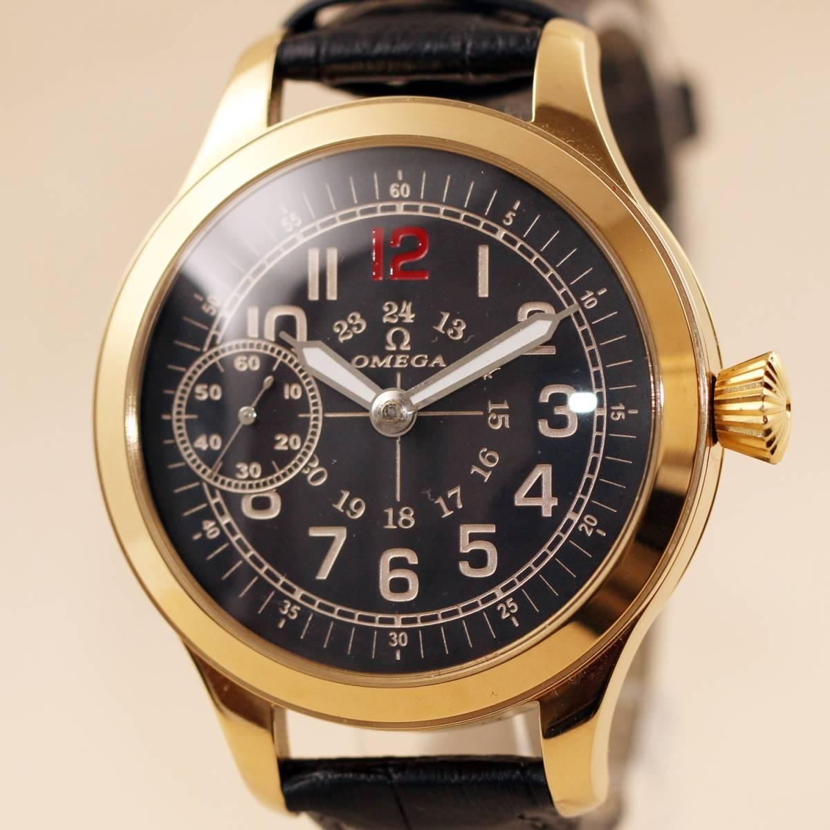【オメガ】OMEGAミリタリー アンティーク手巻きメンズ腕時計 1910年代ヴィンテージ 懐中時計リケース裏スケルトン ビッグフェイス