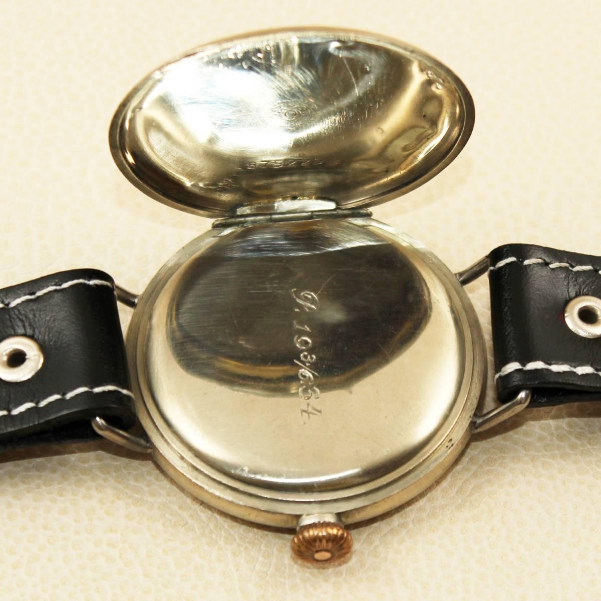 1円スタート【オメガ】OMEGAミリタリー WAFFEN ELITE M-B アンティーク手巻きメンズ腕時計 1930年代ヴィンテージ 懐中時計コンバート_画像9