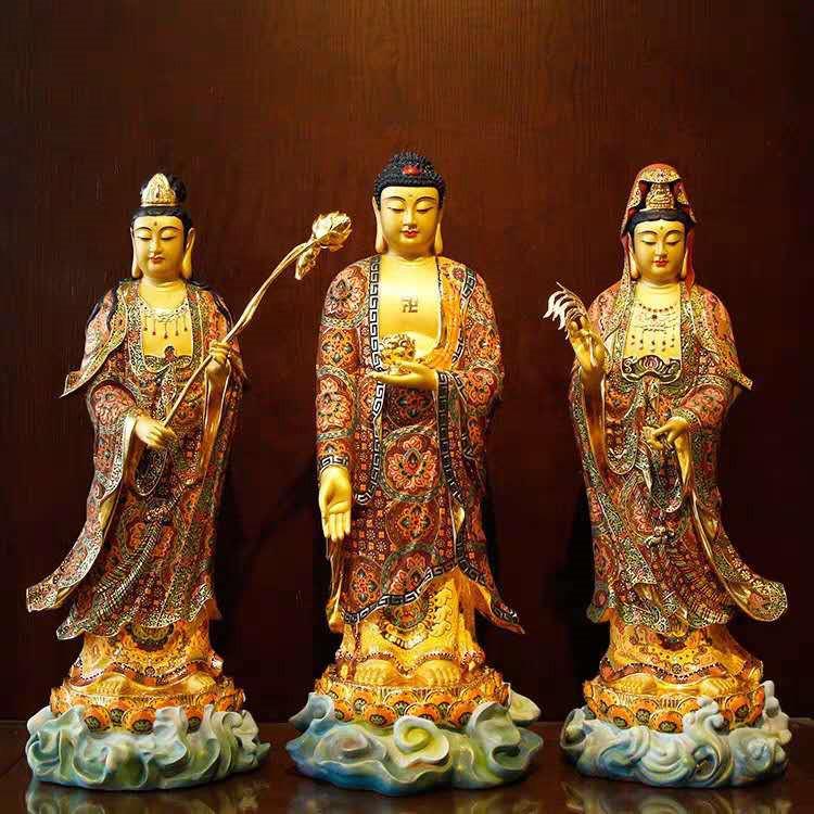 希少新品推薦!西洋三聖仏像 三尊立像 純銅製手工精巧細工工芸品 貴重供養品