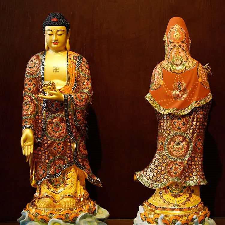 希少新品推薦!西洋三聖仏像 三尊立像 純銅製手工精巧細工工芸品 貴重供養品 _画像5