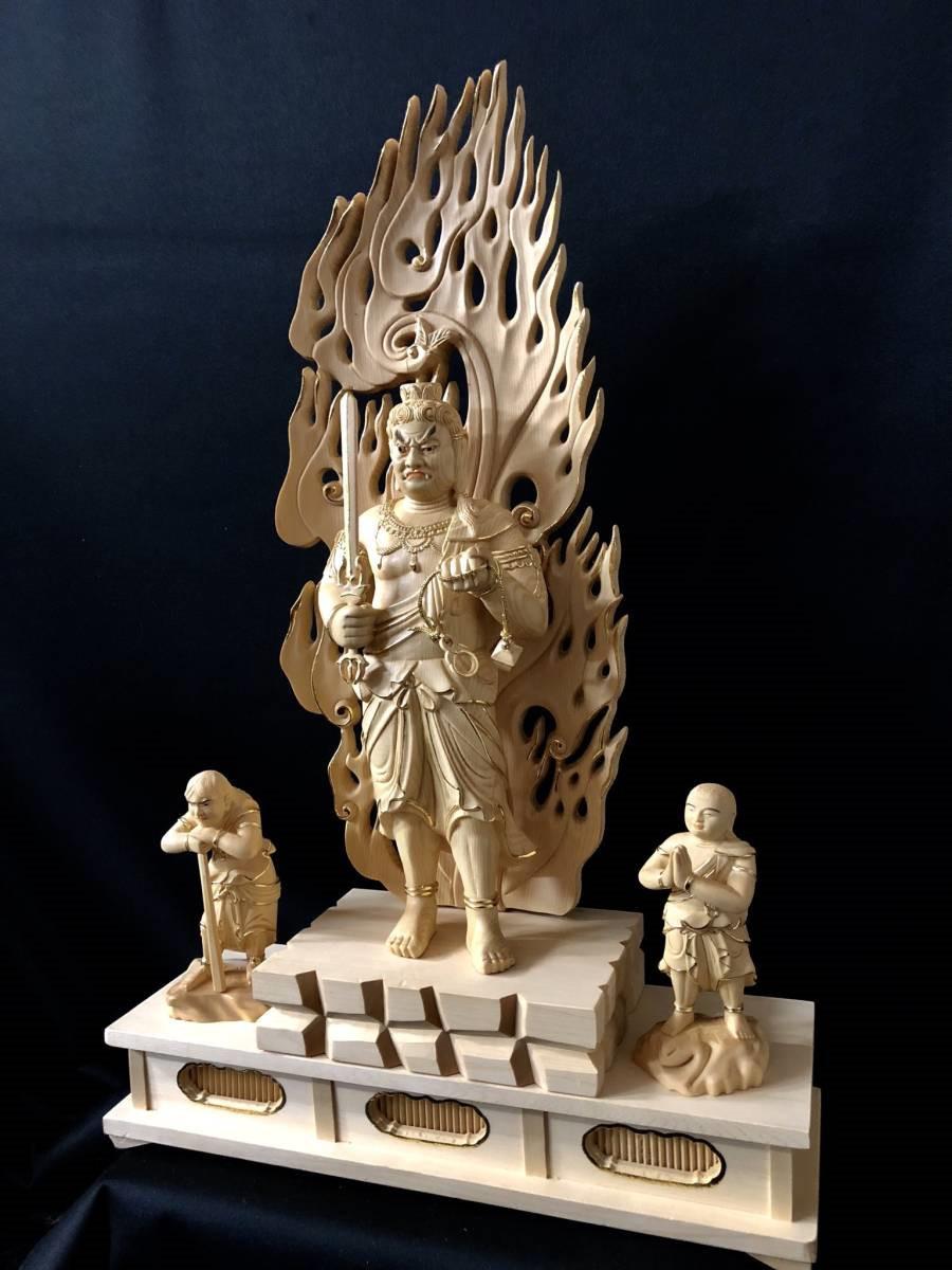仏教工芸 彩金 本金 金箔 仏師手彫り仕上げ 極上彫 仏教美術 木彫仏像 不動三尊立像 総高58cm_画像2