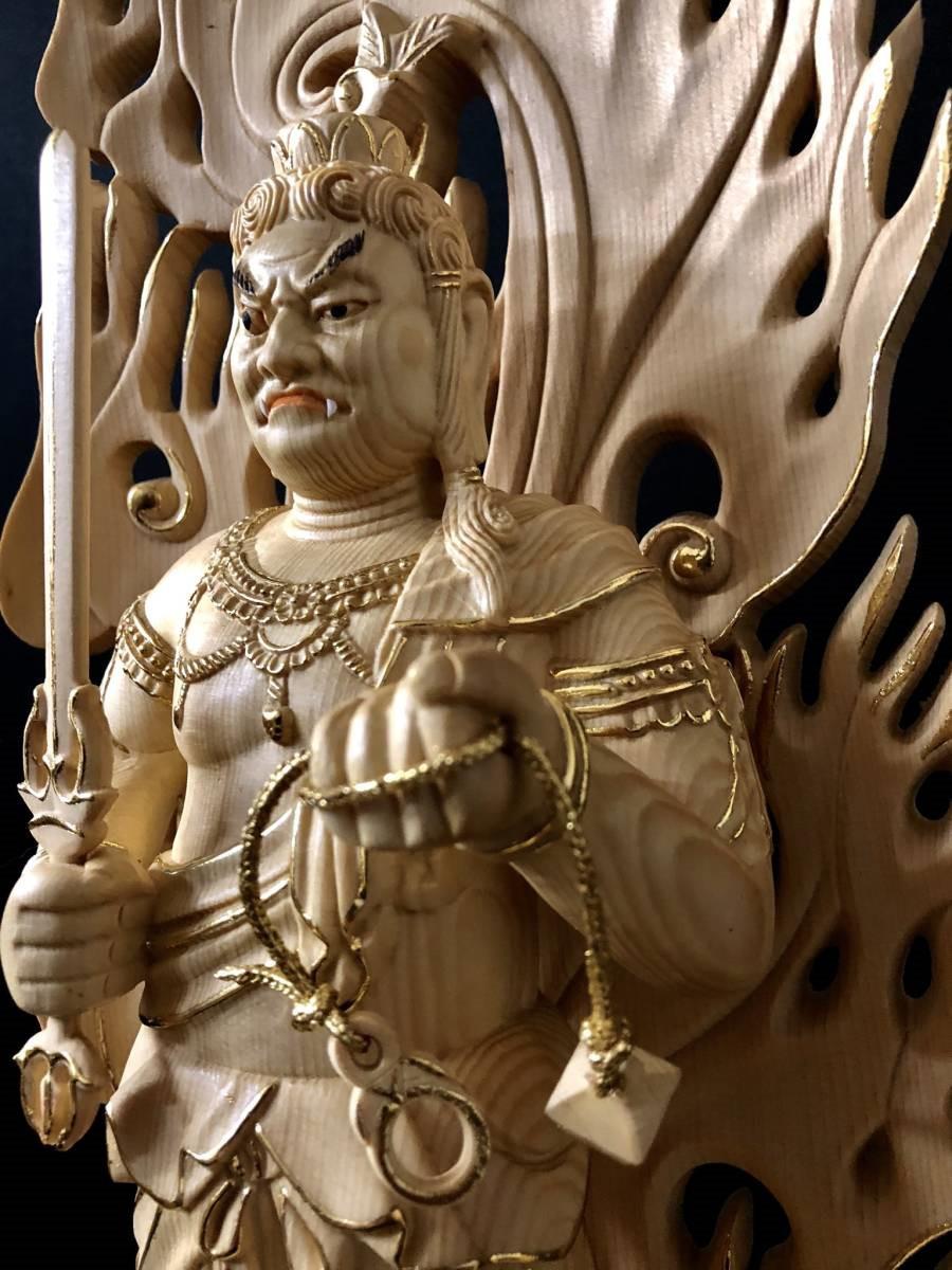 仏教工芸 彩金 本金 金箔 仏師手彫り仕上げ 極上彫 仏教美術 木彫仏像 不動三尊立像 総高58cm_画像4