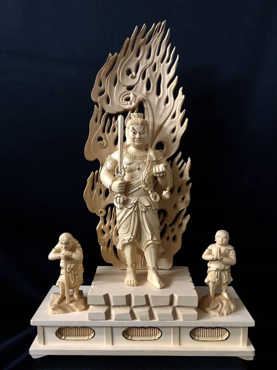 仏教工芸 彩金 本金 金箔 仏師手彫り仕上げ 極上彫 仏教美術 木彫仏像 不動三尊立像 総高58cm_画像6
