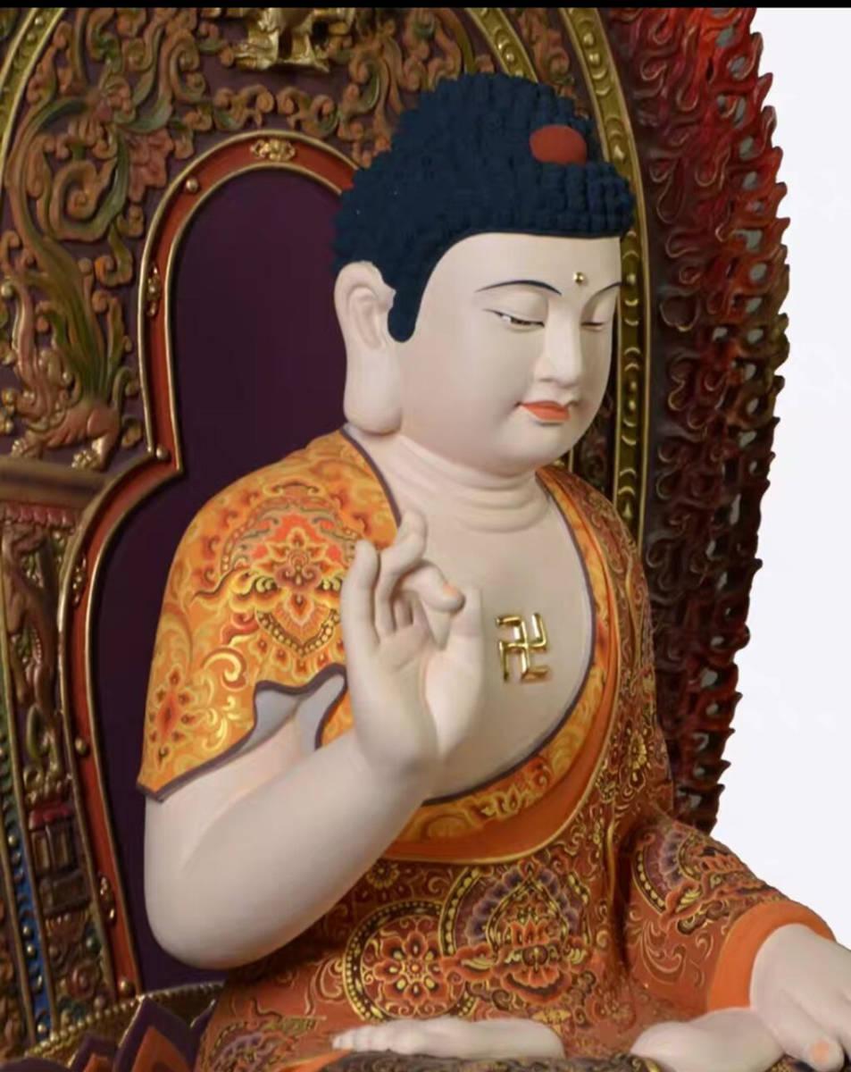 仏教美術品★大型如来仏 お寺寺院供養品 純手工香樟木彩色木彫観如来仏仏像 工芸品置物 コレクション 高さ68cm_画像7