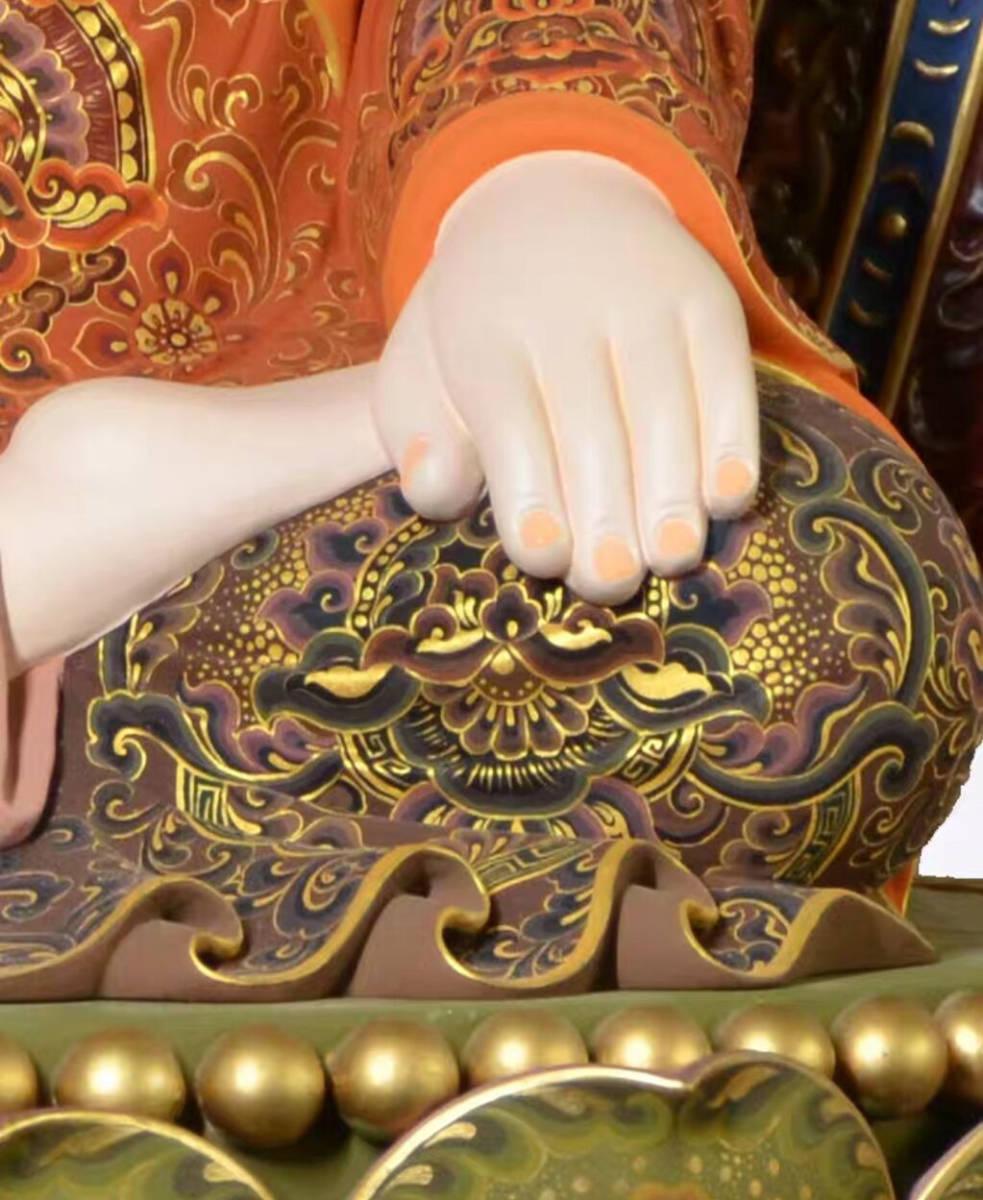 仏教美術品★大型如来仏 お寺寺院供養品 純手工香樟木彩色木彫観如来仏仏像 工芸品置物 コレクション 高さ68cm_画像5