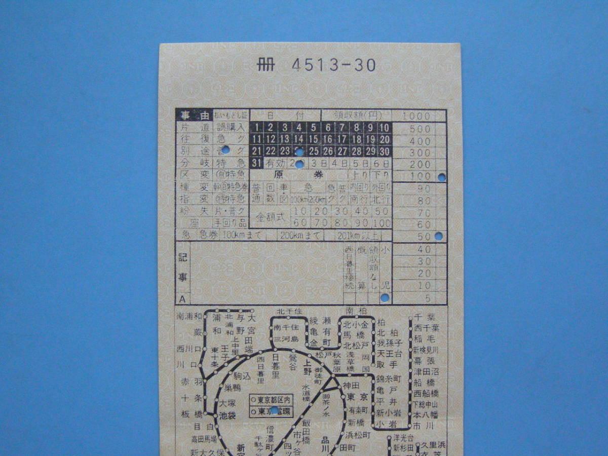 切符 鉄道切符 軟券 乗車券 車内補充券 東京 車掌区乗務員発行 車内乗車券 (A24)2_画像2