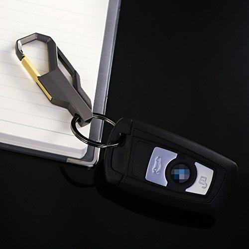 ★高級感 Wリング式 キーホルダー 高機能 カラビナフック オシャレ デザイン 車 家 鍵 ブラック_画像3