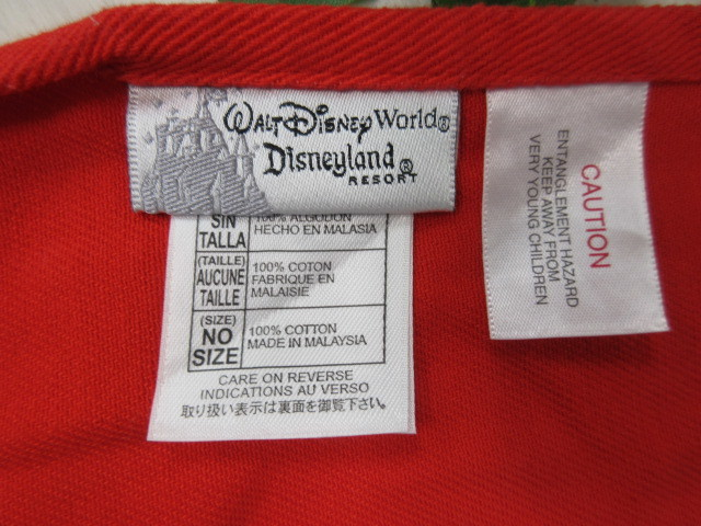 エ131 ディズニーランド ミッキーマウス エプロン レッド×ブラック・綿100%_画像3