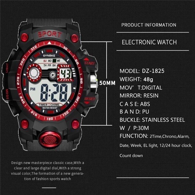 腕時計 スポーツ腕時計 デジタル時計 LEDライト ミリタリー スポーツ アウトドア ランニング アウトドア アクリルケース レッド 21_画像4