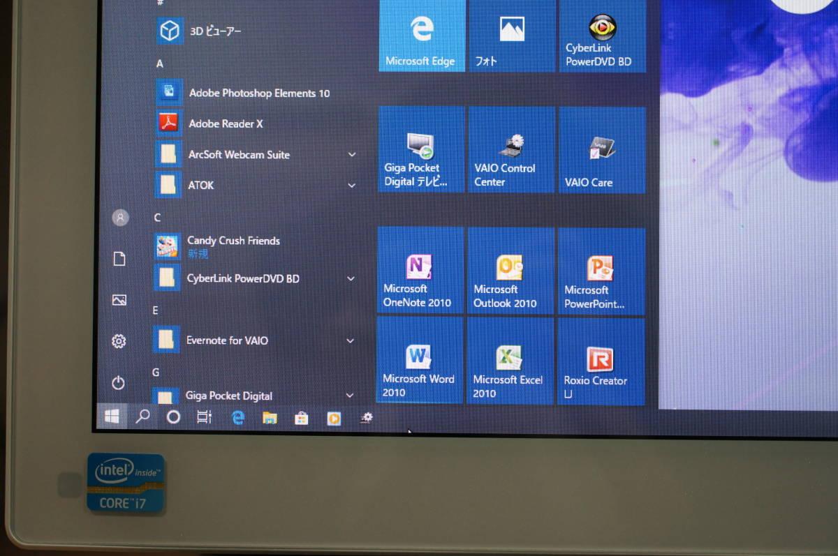 ソニー VAIO L SVL24118FJWI Core i7 4GB 1TB すぐツクTV 3波地デジ Wチューナー ブルーレイ Windows10 リカバリー領域あり 1円スタート_画像2