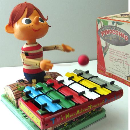 ●珍しい完動品ピノキオの演奏箱付はロスコ野村トーイ製ブリキ