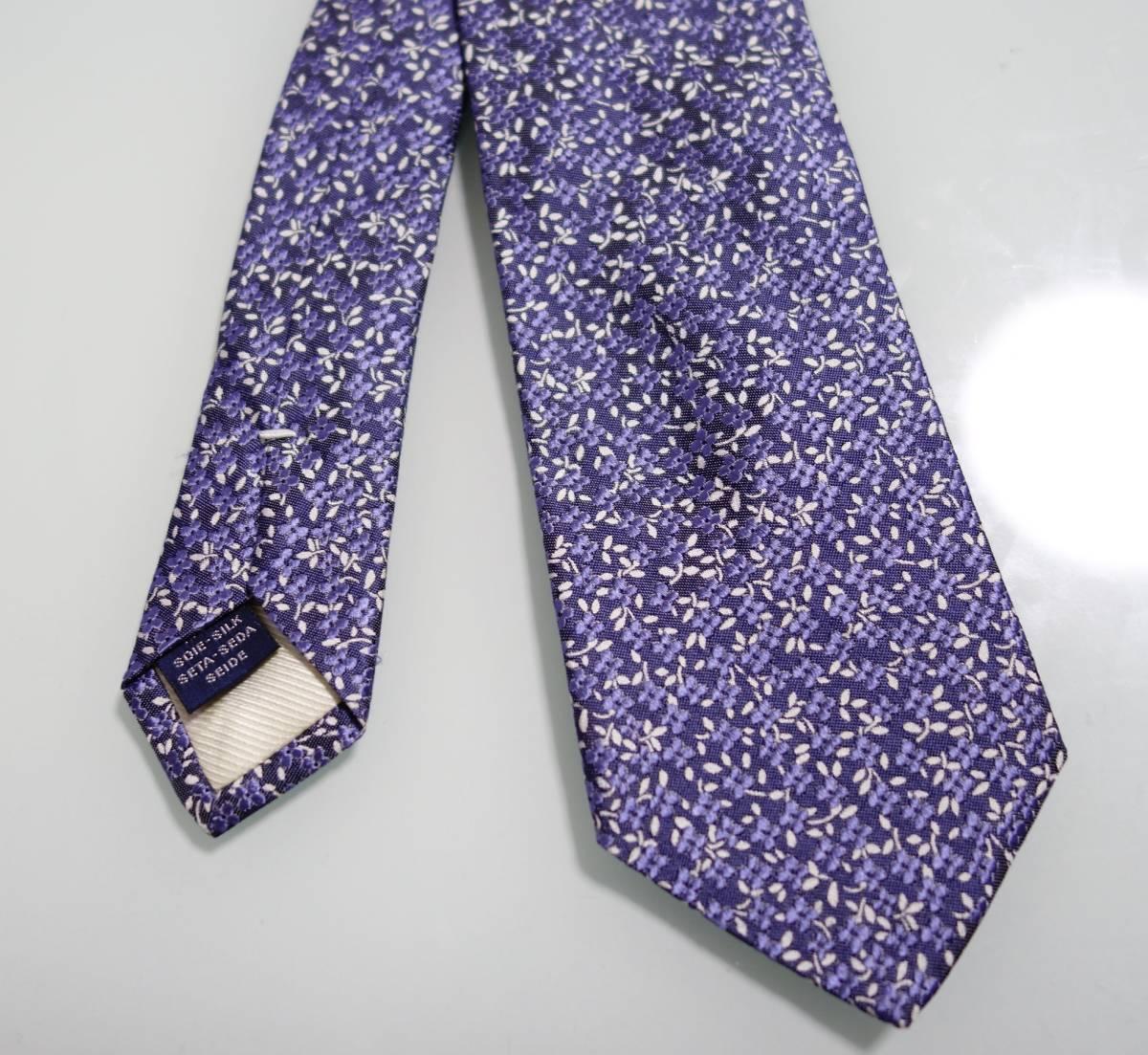 美品ブリューワーBREUER 花柄ネクタイ ブルー フランス製_画像2