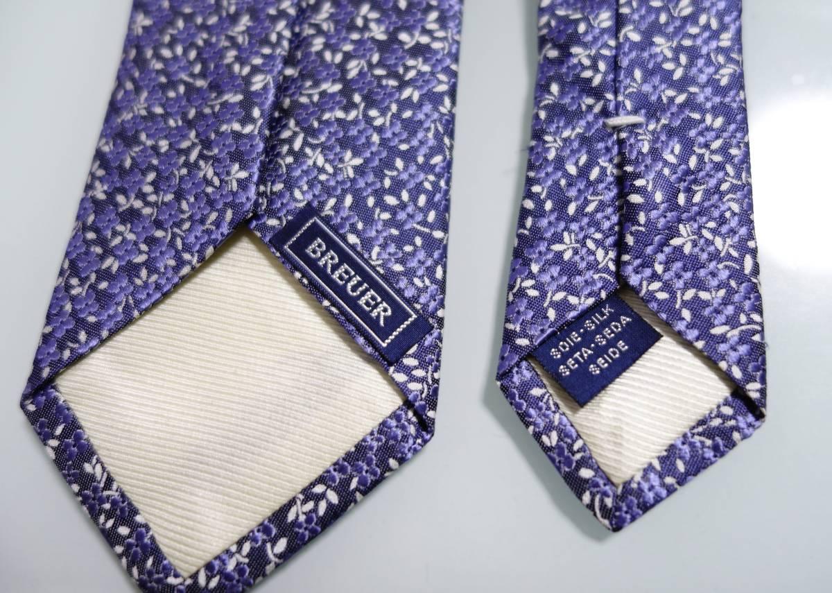 美品ブリューワーBREUER 花柄ネクタイ ブルー フランス製_画像3