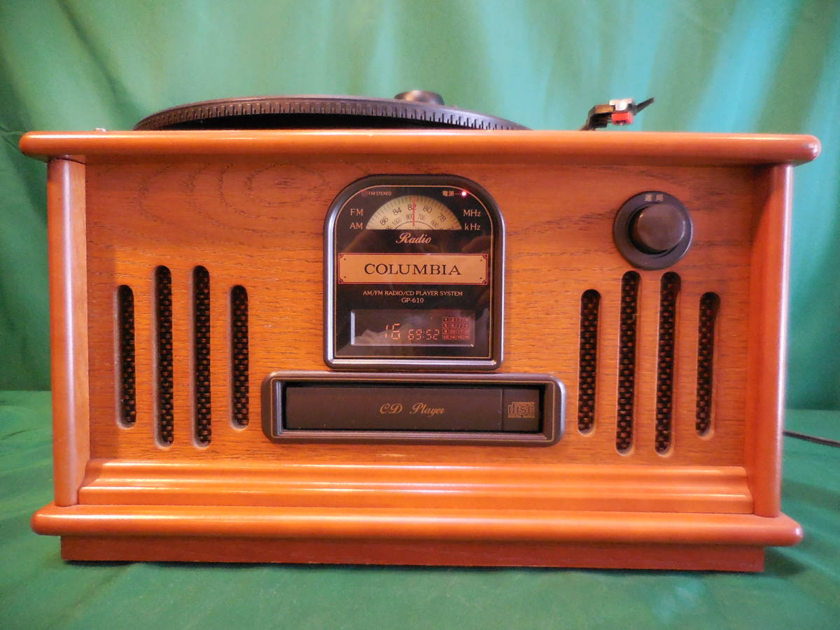 COLUMBIA コロンビア GP-610 蓄音機型 CD/ラジオ プレイヤー 作動確認済 サファイヤア針 SJN-75 6個付_画像3