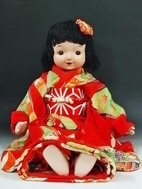 大きな三越ドール 赤い着物の目が左右に振れる女の子 /フラーティアイ ビスクドール
