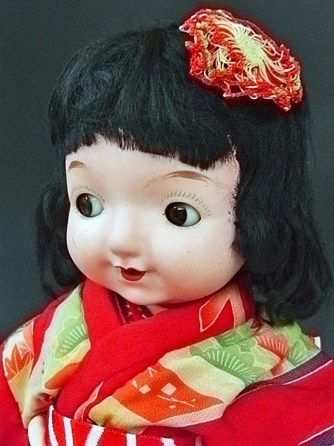 大きな三越ドール 赤い着物の目が左右に振れる女の子 /フラーティアイ ビスクドール_画像4