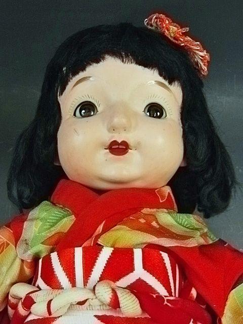 大きな三越ドール 赤い着物の目が左右に振れる女の子 /フラーティアイ ビスクドール_画像5