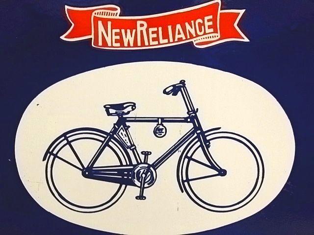 古いホーロー看板(両面) ニューレリアンス号(自転車) /琺瑯看板_画像3