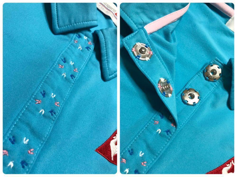 le coq sportif golfルコック レディース ゴルフ ウェア ドライポロシャツ サイズS 半袖 ライトブルー デサントQGL1707_画像6