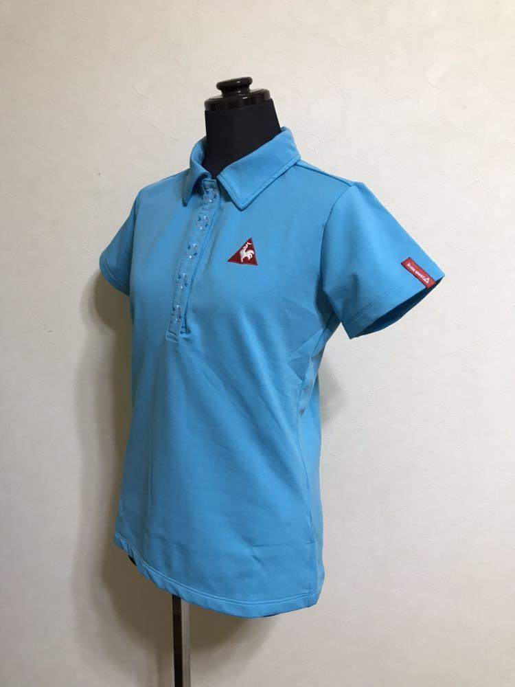 le coq sportif golfルコック レディース ゴルフ ウェア ドライポロシャツ サイズS 半袖 ライトブルー デサントQGL1707_画像7