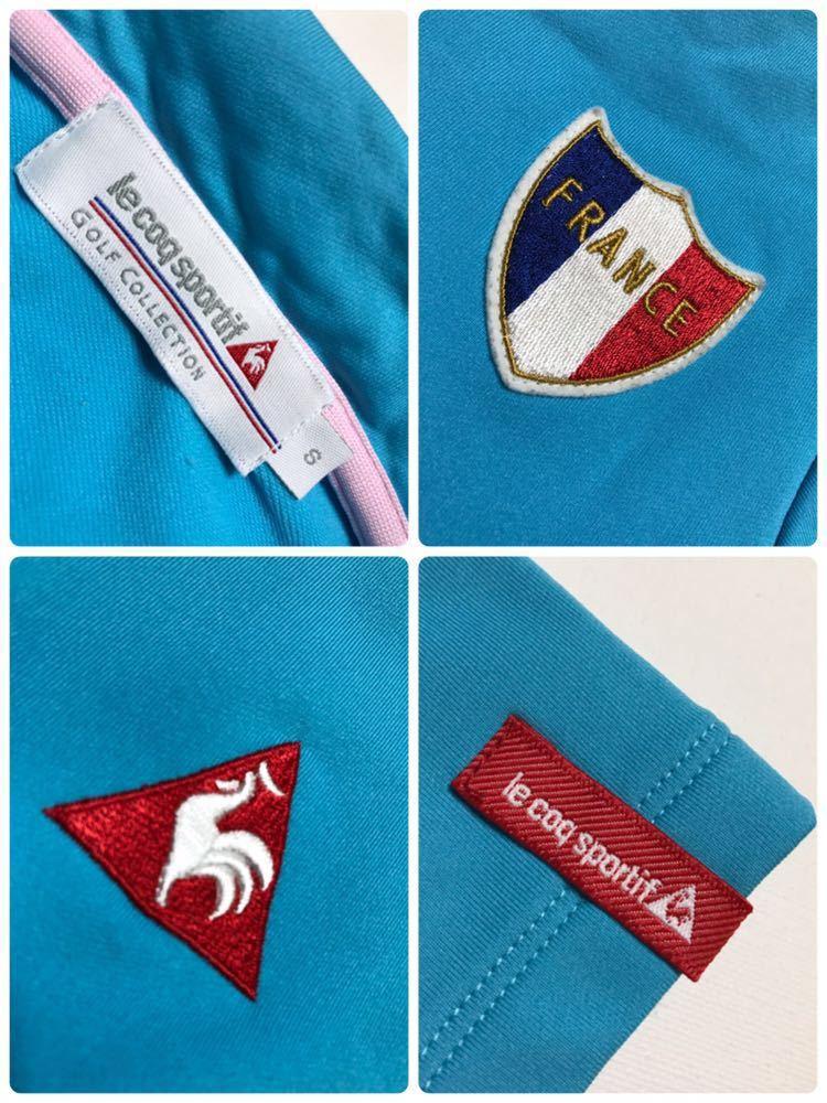 le coq sportif golfルコック レディース ゴルフ ウェア ドライポロシャツ サイズS 半袖 ライトブルー デサントQGL1707_画像5