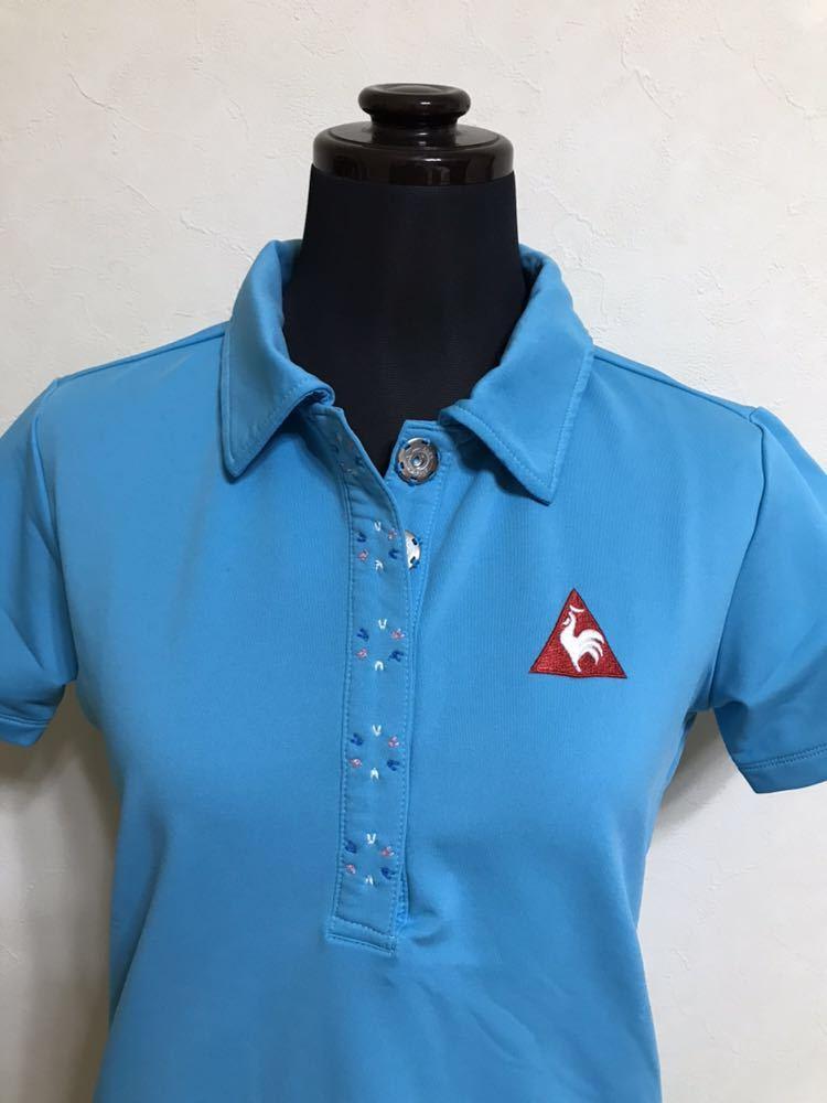 le coq sportif golfルコック レディース ゴルフ ウェア ドライポロシャツ サイズS 半袖 ライトブルー デサントQGL1707_画像3