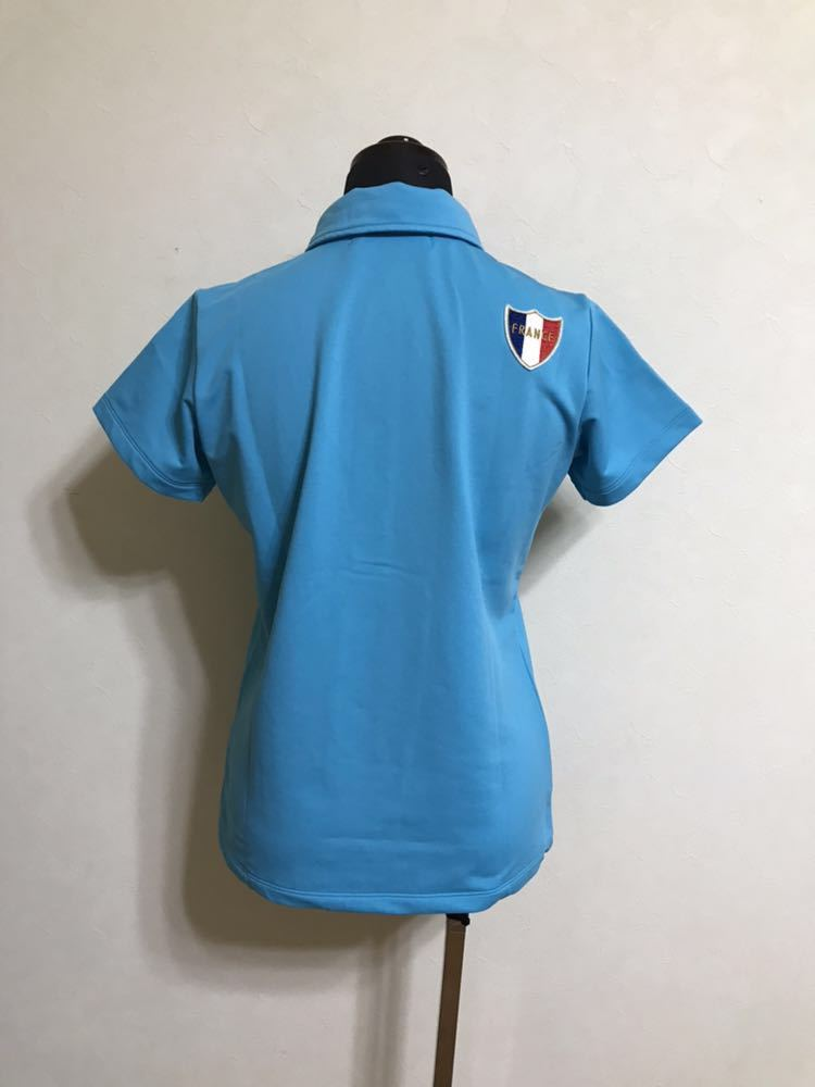 le coq sportif golfルコック レディース ゴルフ ウェア ドライポロシャツ サイズS 半袖 ライトブルー デサントQGL1707_画像2
