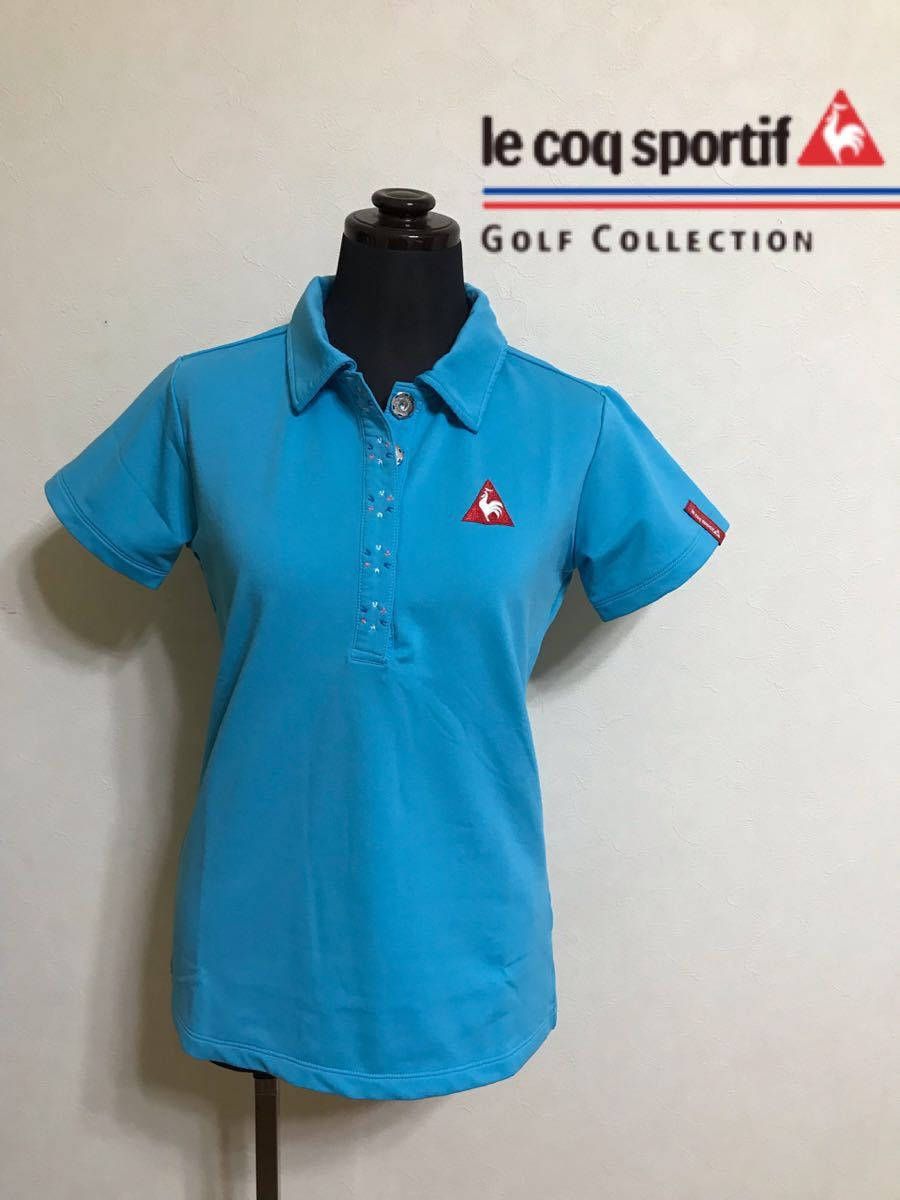 le coq sportif golfルコック レディース ゴルフ ウェア ドライポロシャツ サイズS 半袖 ライトブルー デサントQGL1707_画像1