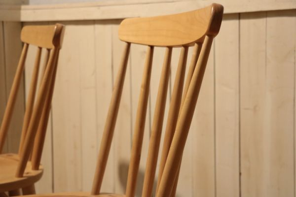 MIKIMOKU◆ミキモク◆楓の森◆メープル無垢材◆ダイニングチェアー◆2脚セット◆ウィンザーチェアー◆ナチュラル◆北欧風◆木製椅子◆(1)_画像8