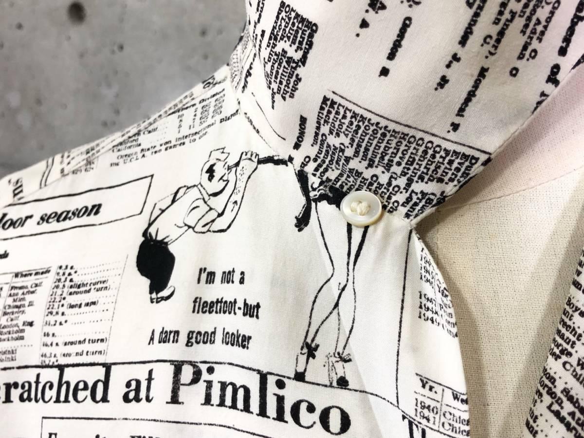 希少 《 Special !! / Newspaper / 1940年代製 》40s 50s 美品【 Enro ビンテージ レーヨン ニュースペーパー シャツ マイフリーダム6 】_画像2