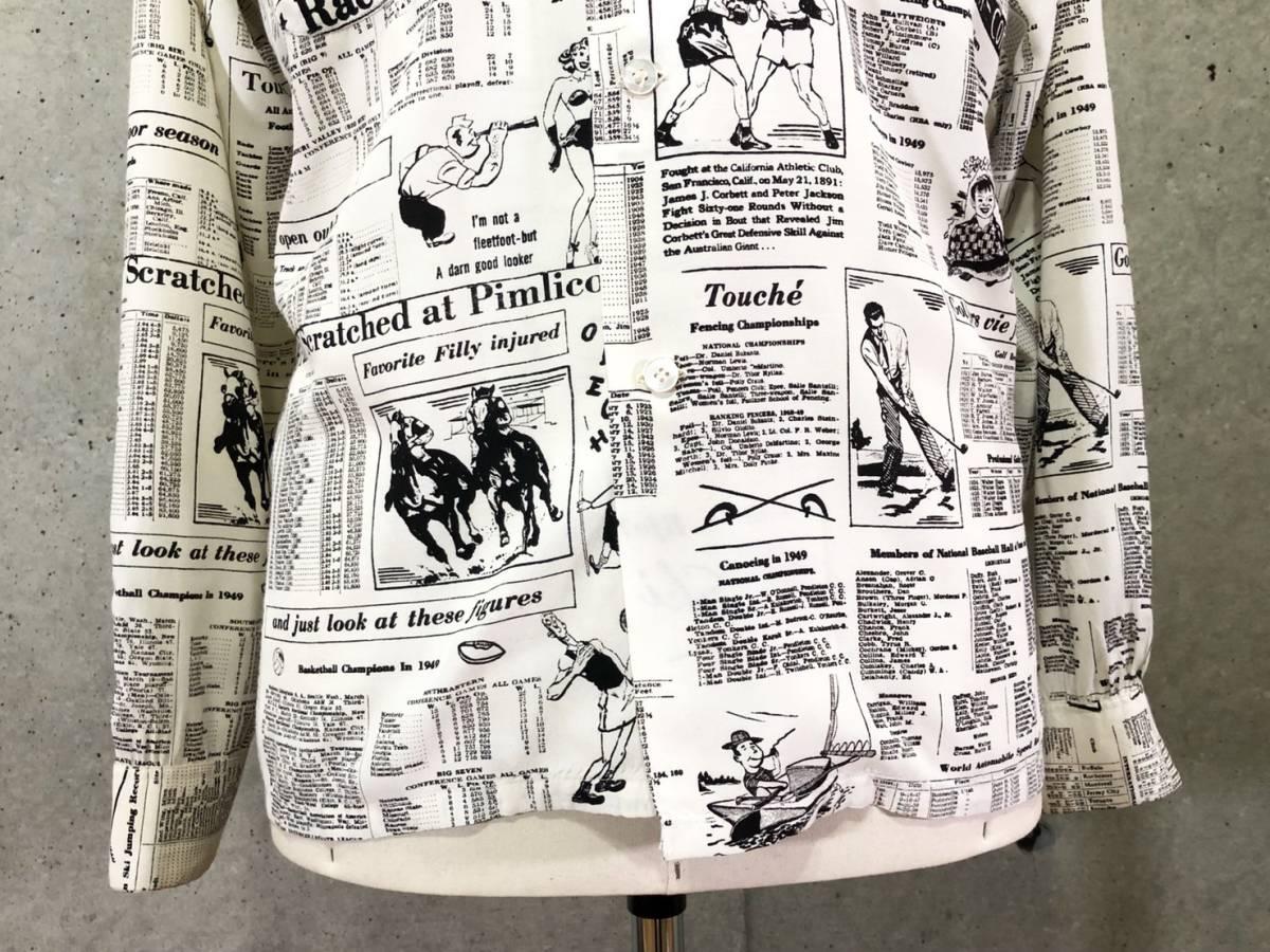 希少 《 Special !! / Newspaper / 1940年代製 》40s 50s 美品【 Enro ビンテージ レーヨン ニュースペーパー シャツ マイフリーダム6 】_画像4