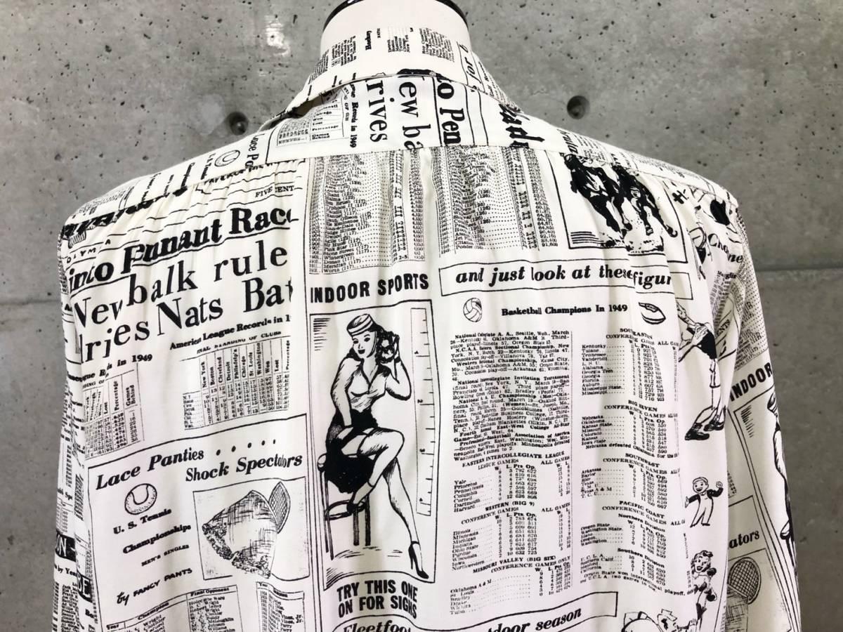 希少 《 Special !! / Newspaper / 1940年代製 》40s 50s 美品【 Enro ビンテージ レーヨン ニュースペーパー シャツ マイフリーダム6 】_画像5